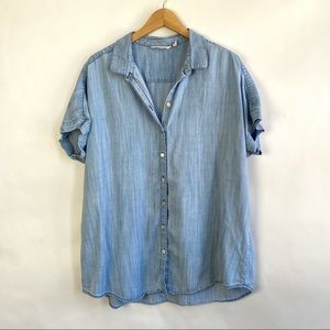Soft Surroundings Blue Button Down Shirt Blouse